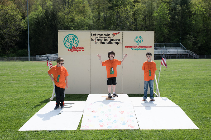 5/18/2018. Dreysen (far right) poses for the camera during the 2018 Special Olympics.