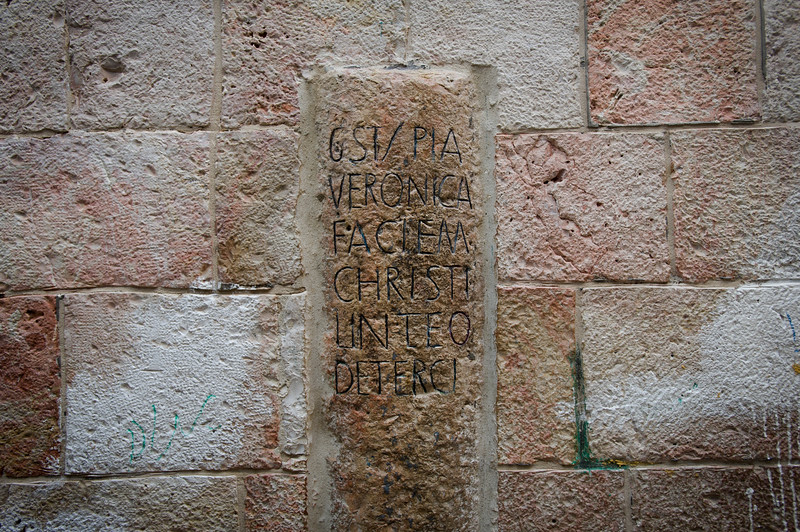 Via Dolorosa. Jerusalem. This station, the sixth, tells the story of the woman Veronica, who was said to have wiped the sweat from Chirsts brow on His way to be crucified.