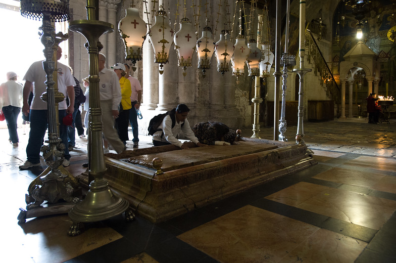Jerusalem. The Stone of Unction, also known as the Stone of Anointing, is the place where Christ' body was laid down after being removed from the crucifix and prepared for burial.