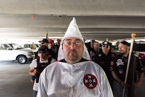 "April 23, 2016. Rome, Georgia. Members of a North Carolina based Ku Klux Klan realm begin to form ranks prior to a ""pro-white civil rights"" rally sponsored by the National Socialist Movement."