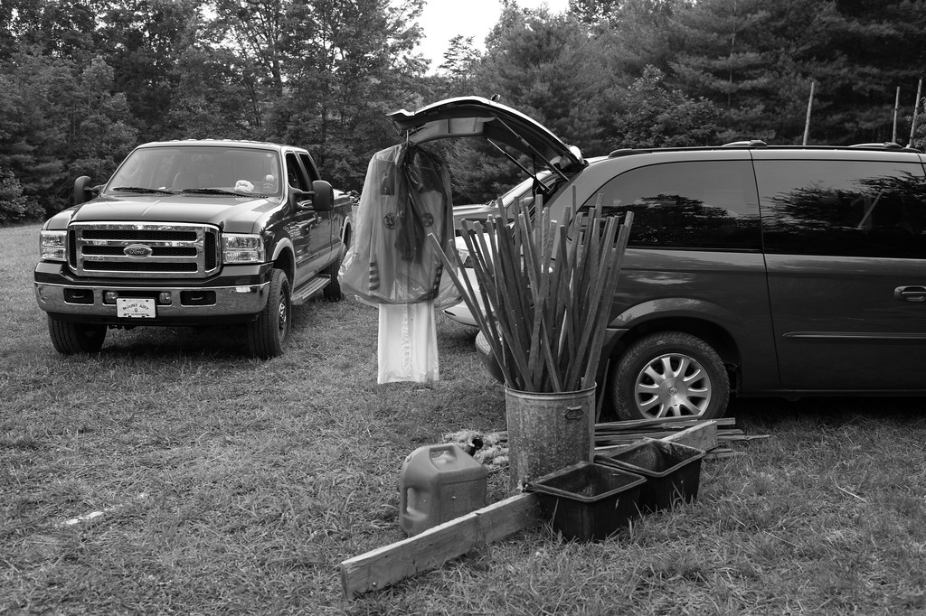 Diesel fuel and wooden torches that will be used in the cross lighting ceremony just after dusk. North Carolina.