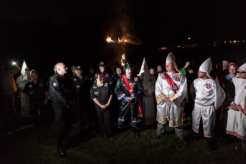April 23, 2016. Temple, Georgia. A Ku Klux Klan cross lighting ceremony – according to Klan ideology, the fiery cross signifies the light of Christ and also meant to bring spiritual truth to a world that is blinded by misinformation and darkness.