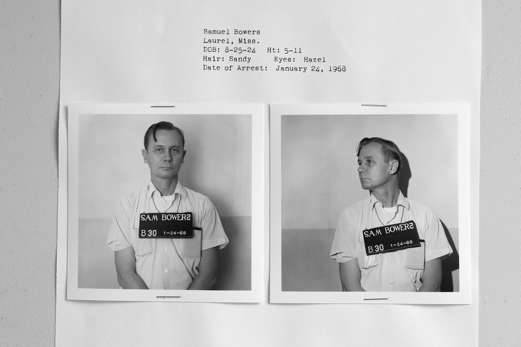 "Jackson, MS. 3/1/2016. Archives and Records Services Division, Mississippi Dept of Archives and History. <br /> <br /> January 24, 1968 arrest photo of Sam Bowers, who was arraigned on a charge of arson in the 1966 firebombing of civil rights activist Vernon Dahmer's house and store.<br /> <br /> Sam Bowers was the Imperial Wizard of The White Knights of the Ku Klux Klan of Mississippi. It was Bowers, who in May, 1964, authorized ""the elimination"" of a ""Goatee,"" the Klan's name for Mickey Schwerner, one of three civil rights workers who where abducted and murdered during the ""Freedom Summer "" campaign for which he served six years in prison. <br /> <br /> After four previous trials had ended in deadlocks, Bowers was finally convicted in August, 1998, over thirty-two years after the murder of Vernon Dahmer, by a jury of six blacks, one Asian-American and five whites. He was sentenced to life without parole."