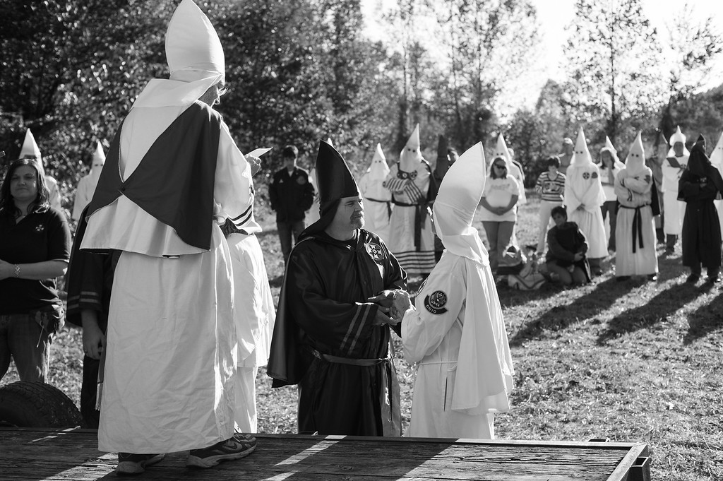 Members of southern based Klan realm gather for a triple wedding ceremony. Tennessee.