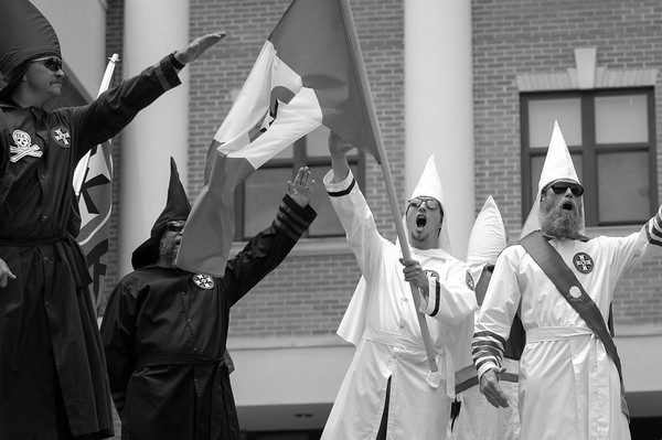 The Georgia Knightriders of the KKK during a rally at the Ejay Courthouse in Georgia.