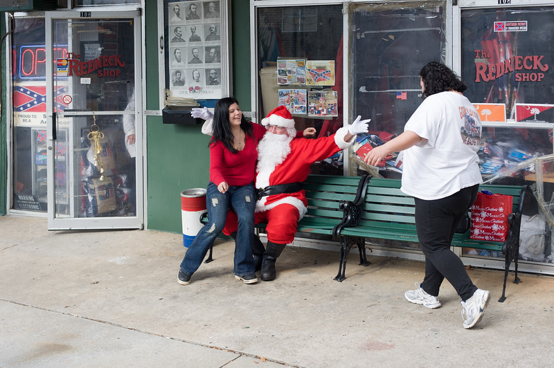 2008 presidential candidate and former American Nazi Party leader John Taylor Bowles takes on the roll of Santa Clause outside the Redneck Shop, owned by the late and former emperor of the KKK John Howard. Laurens, South Carolina.