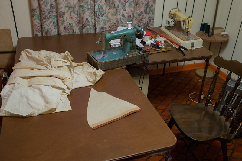 The home of Richard Bondira. Richard was in the process of sewing a Klan robe made out of vintage cotton.