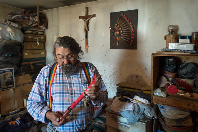 "Vietnam and Wounded Knee veteran Anthony Bush with his sacred pipe. The Lakota tradition has it that the White Buffalo Woman brought the Chanunpa to the people, to serve as a sacred bridge between this world and Waken Tanka, the ""Great Mystery."""