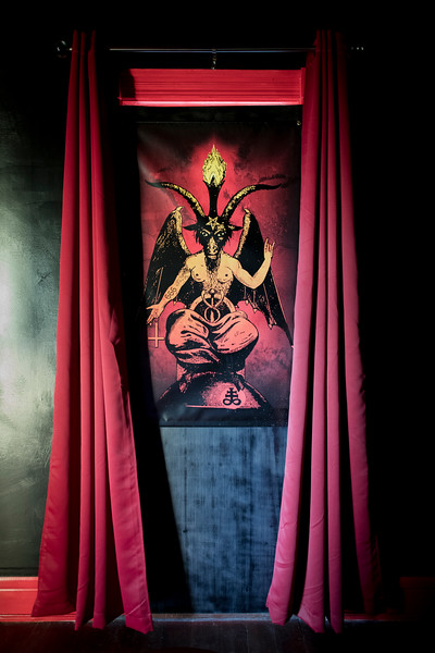 Undisclosed location. South Carolina. Baphomet, The Symbol of the satanic goat. Baphomet is portrayed as a half-human, half-goat figure, or goat head. <br /> <br /> The Church of Satan, founded in 1966 in San Francisco, adopted a rendition of Baphomet to symbolize satanism. The symbol is a goat's head drawn within an inverted pentacle, enclosed in a double circle. In the outer circle, Hebraic figures at each point in the pentagram spell out Leviathan, a huge water serpent associated with the devil.