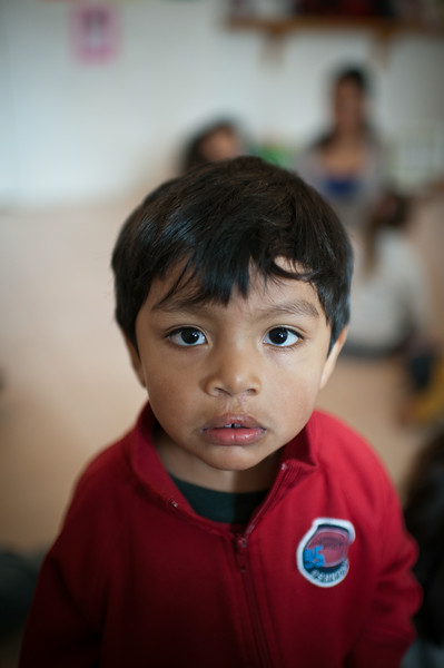 Mexico City, Mexico. A post-operative child that underwent surgery for a bi-lateral cleft, at a speech therapy workshop.