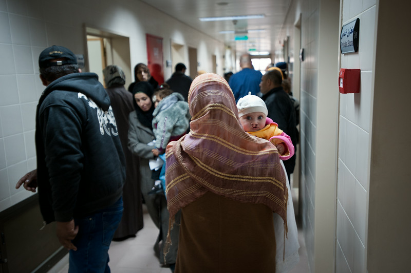 A child with a bi-lateral cleft lip during a medical screening day at the Al-Ahli hospital in Hebron, Palestine.