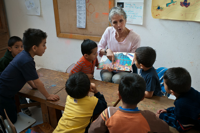 Students work on annunciation along with a speech therapist during an intense month long workshop in Mexico City, Mexico.