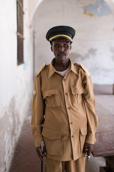 An officer in charge of the jail facilities at a police station in Mogadishu, Somalia.