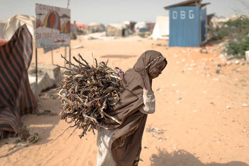 A Somali internally displaced person at the Badbaado IDP Camp. The Badaado Camp is located in the Dharkenly District and is the largest in Mogadishu.