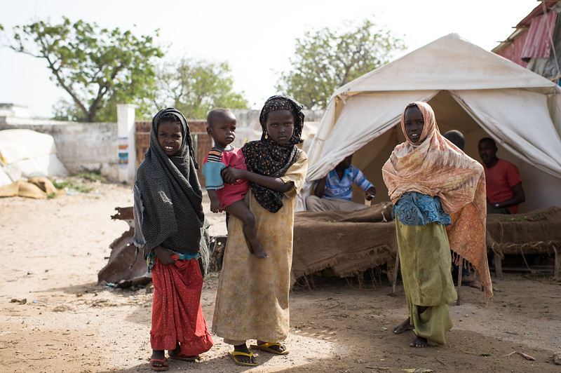Internally displaced children at the Badbaado IDP Camp. The Badaado Camp is located in the Dharkenly District and is the largest in Mogadishu, Somalia.
