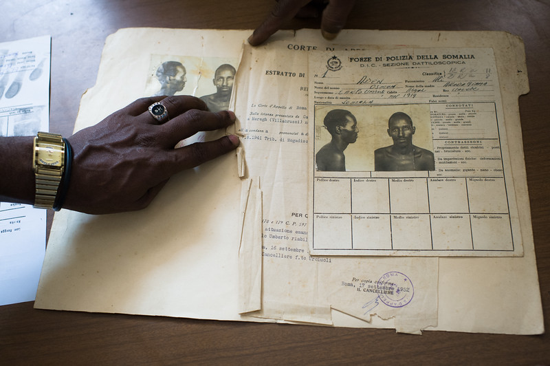 The original induction docket of Aden Osman, who was the first prisoner of Mogadishu's Central Prison in 1941.