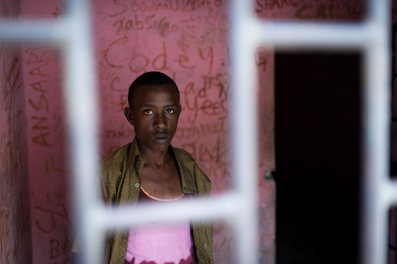 A prisoner accused of  murder at the Central prison of Mogadishu. Hodan District, Somalia.
