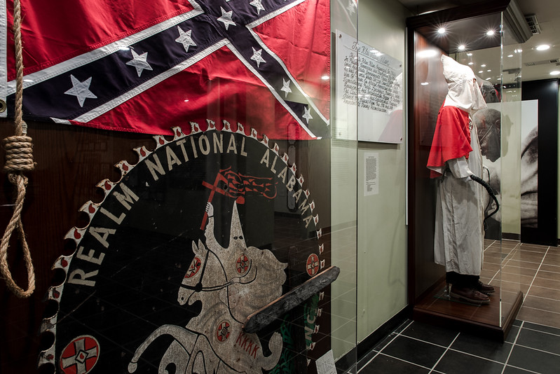 Selma, AL. 12/7/2015. A Klan Robe on display at the National Voting Rights Museum and Institute.