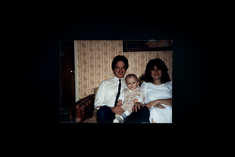 "Tim, his wife and their 11-month-old son. 1985.<br /> <br /> ""In 1979 I got in with a bad bunch and got into trouble. I went to jail for a few months on work release. There I read Mein Kampf. I had always liked WWII history, but something clicked. I started thinking like a National Socialist person. When I first got serious with my now wife, I had an armband, flag and a few collectibles, including an 8mm Mauser rifle and bayonet. """