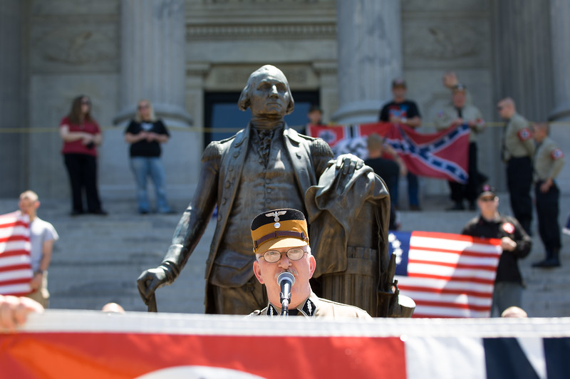 "April 21, 2007. Columbia, South Carolina. Tim speaks at a rally in protest of the ""3rd world invasion"" of illegal immigrants and their refusal to assimilate into American culture."