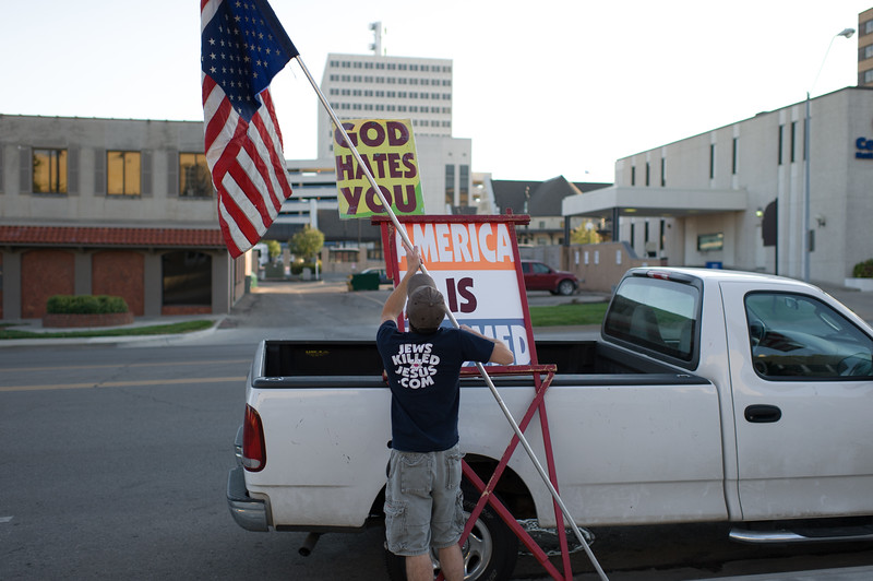 Member of the Westboro Baptist Church at their weekly picket of the Shawnee County courthouse in Topeka, KS.