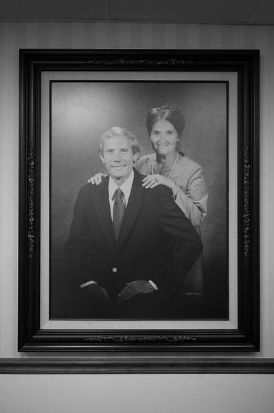 An image of a young Pastor Fred Phelps, now 82, and his wife of 59 years, Margie Marie Simms, hangs in the Phelps Law Chartered office in Topeka, KS.