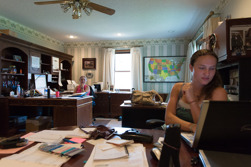 Megan (right) and her mother Shirley Phelps-Roper answer emails in their home office.