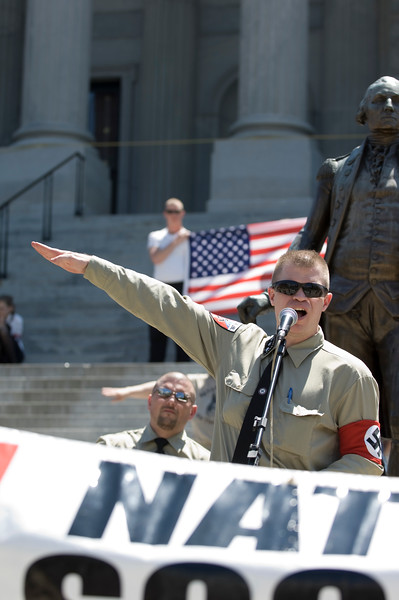 Members of the National Socialist Movement on the steps of the State Capital building. April 21, 2007. Columbia, S.C.