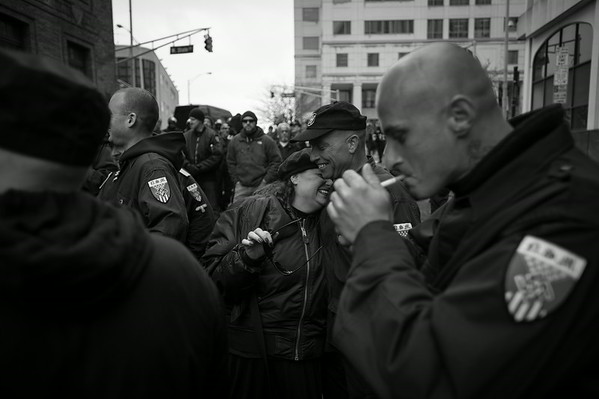 Members of the America's largest Nazi organization the National Socialist Movement prepare to march. New Jersey.