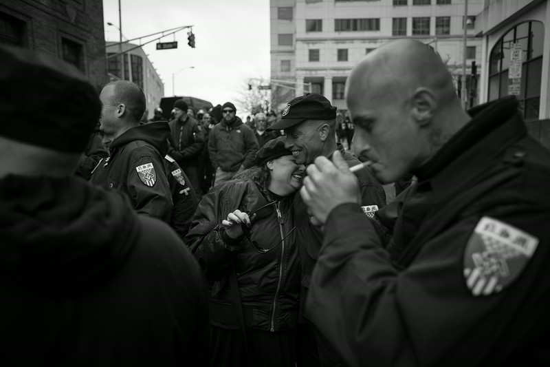 Members of the America's largest Nazi organization,  the National Socialist Movement prepare to march. New Jersey.