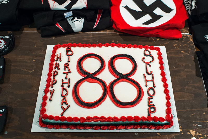 A birthday celebration for Jeff Schoep (former commander of the National Socialist Movement).