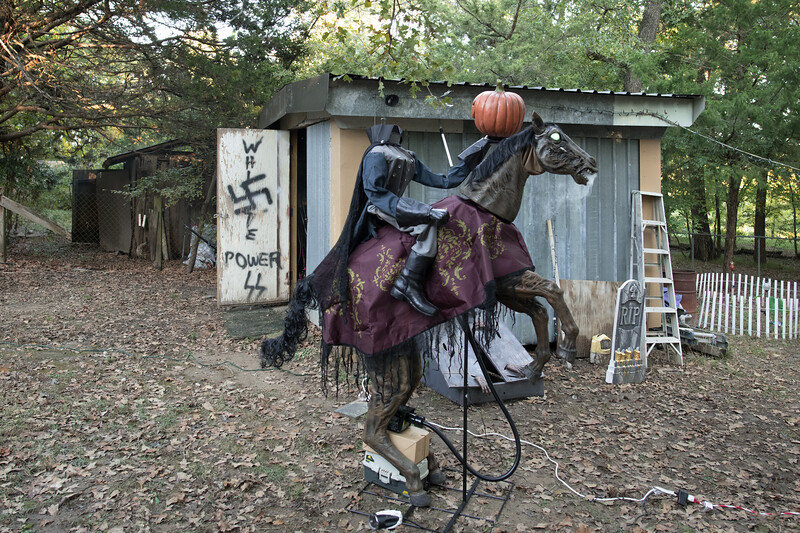 Headless  horseman prop at a Halloween get together. Texas.