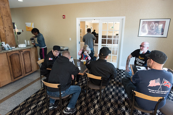 April 23, 2016. Breman, Georgia. Members and supporters of the National Socialist Movement during breakfast at a local hotel.