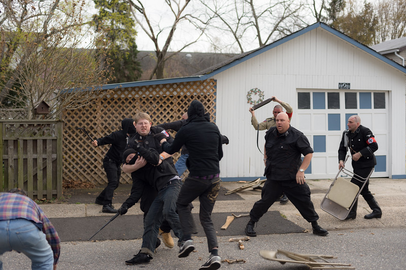 Trenton, NJ. A small group of armed antifa attack a dinner event hosted by a white nationalist organization.