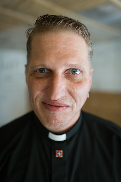 Pastor Drew of the National Socialist Movement shortly after a wedding ceremony at the annual skinhead Oi Fest in Arizona. <br /> <br /> Pastor Drew was the last ordained minister at the Aryan Nations 20-acre white supremacist compound at Hayden Lake, Idaho before it was bankrupted by the Southern Poverty Law Center in a 6.3 million dollar judgement in 2000.