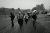 Members from the NSM (National Socialist Movement) and World Knights of the Ku Klux Klan march towards a rally site during a demonstration against homosexuality at Gettysburg National Park, Pennsylvania.