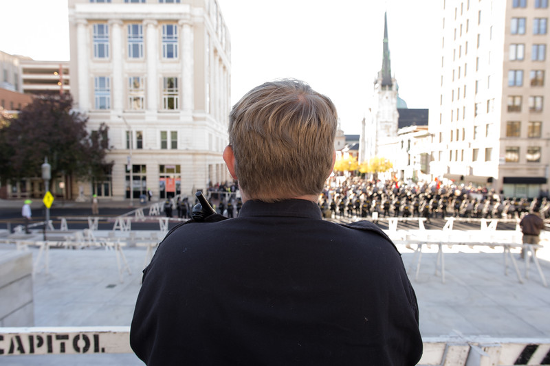 A Nazi faces the crowd during a fall political rally on the steps of the Pennsylvania state Capital building.