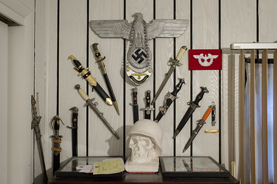 WWII Third Reich collectables at the home of Richard Bondira, former Great BlueFustin of the Ku Klux Klan and Klan historian.
