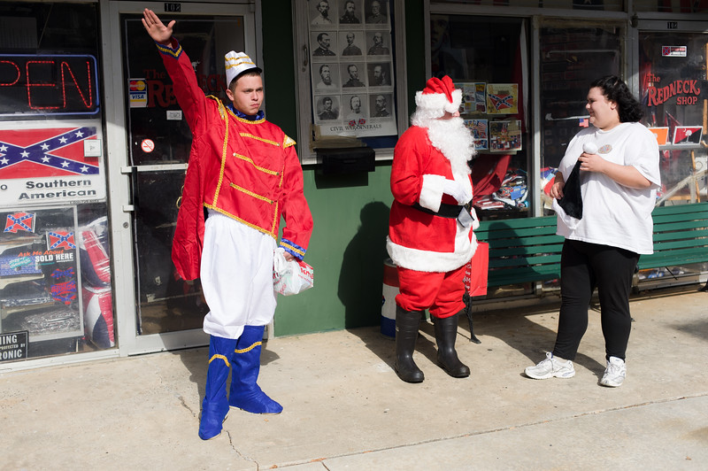 2008 presidential candidate and former American Nazi Party leader John Taylor Bowles takes on the roll of Santa Clause outside the Redneck Shop. Laurens, South Carolina.