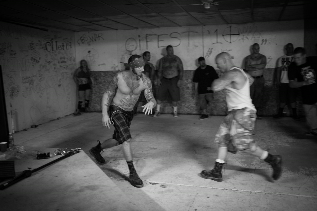 Skinheads in the mosh pit at the annual Oi Fest. Arizona.