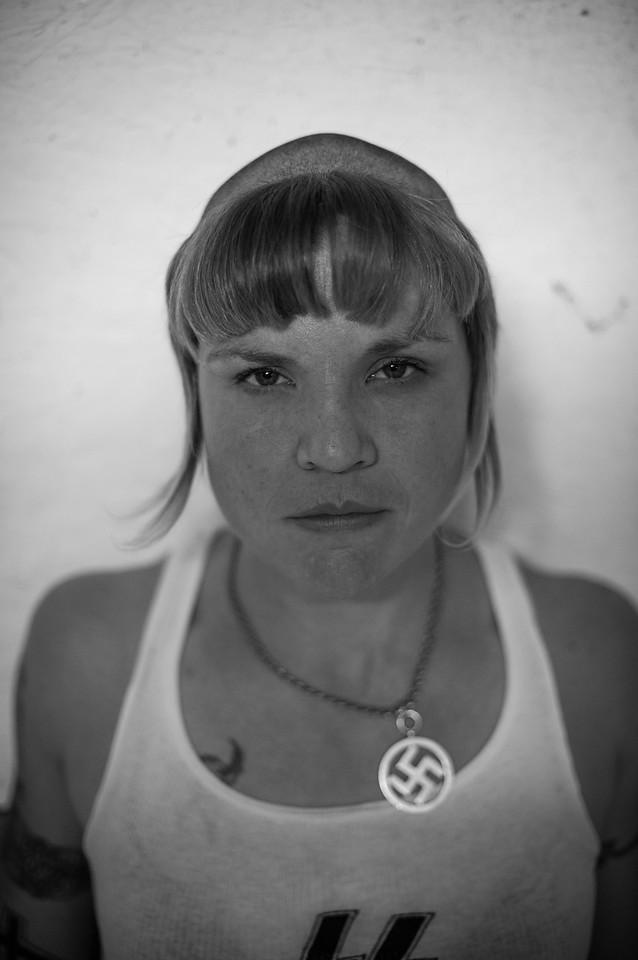 A female skinhead, known as a SkInbyrd.