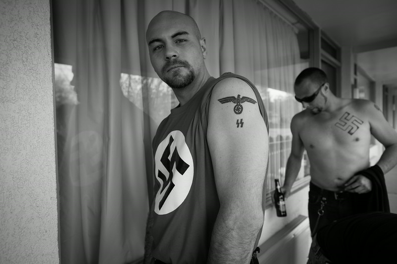 NSM (National Socialist Movement) members at a hotel a day prior to an organized rally at the capitol building in Washington, D.C. Maryland.