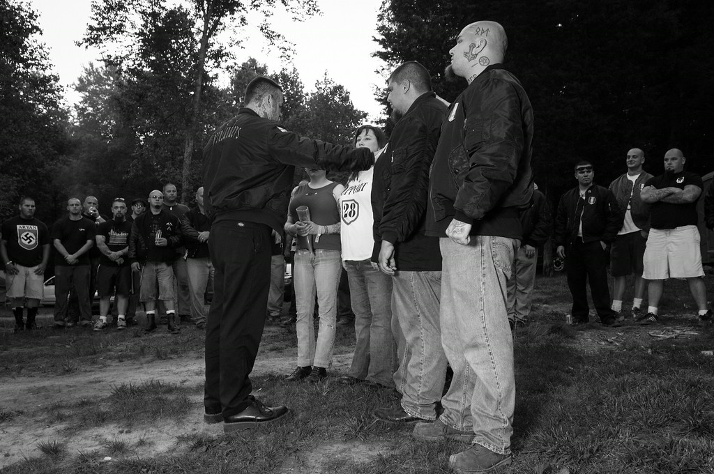 Members of the Vinlanders Social Club participate in Nordic themed skinhead wedding ceremony.