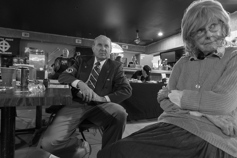 "April 22, 2016. Temple, Georgia. Arthur Jones and his wife Patricia during the NSM National meeting & banquet. ""Art"" was a Republican candidate who sought election to the U.S. House to represent the 3rd Congressional District of Illinois in 2016 and in 2012. He is a well-known Holocaust denier and has been affiliated with Nazi organizations since the 70's."