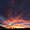 "September 29, 2006<br /> <br /> A broader view of last night's sunset. Bonus, that's the moon on the left. It's an almost 180 deg. view. This is about 25-30 miles east of San Diego<br /> <br /> This is 16 x 8.2 MP shots combined to make a 72 megapixel image. I scaled it down for uploading to smugmug(full size gives it problems) Full size is 12000 x 6000 pixels allowing a print of 40"" x 20"" at 300 dpi. Wheee! :D"