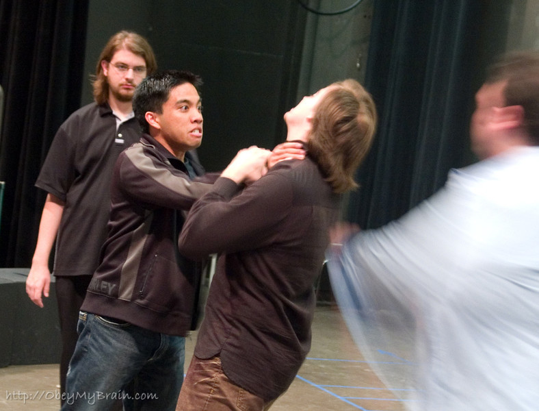 April 10, 2007<br /> <br /> Dracula(center right) getting some tips from the stunt coordinator(center left)