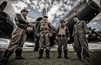 With The Crew of The Pink Lady Duxford England