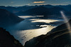 As I approached Queenstown<br /> it was the light on the lake that convinced me<br /> a helicopter is better<br /> Lake Wakatipu