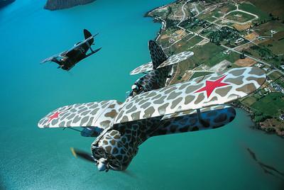 Polikarpov I-153 Wanaka - May 2000 Pilots: Tom Middleton, Rex Dovey Nikon F4 Fuji Velvia Transparency 50ASA (pushed to 100ASA)