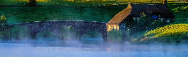 The Mill and Bridge at Sunrise Hobbiton Movie Set